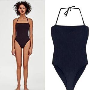 ZARA Black Ribbed Swimsuit